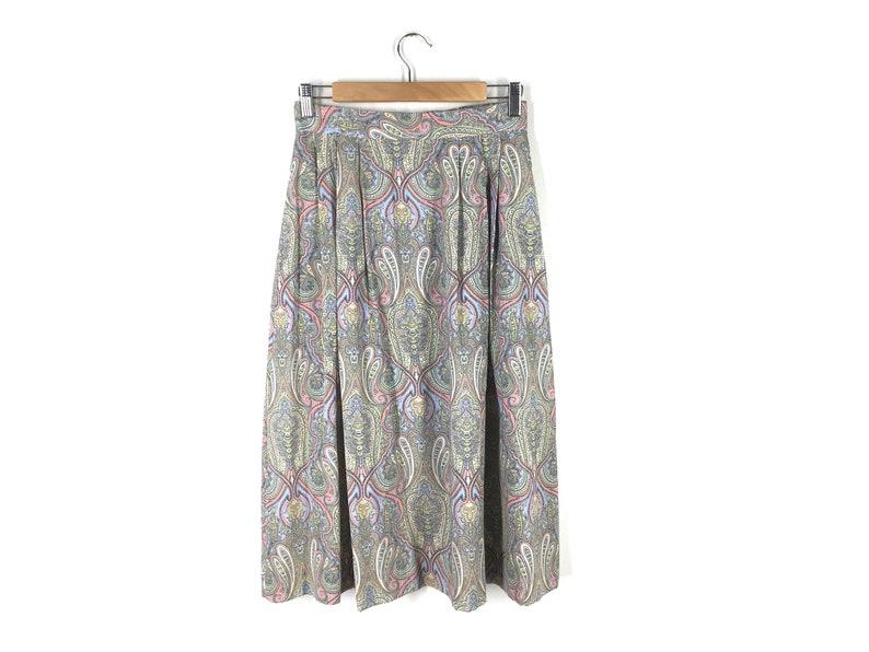 1894e05e4 Vintage 90s Pastel Paisley Midi Skirt Pale Blue Pink Yellow | Etsy