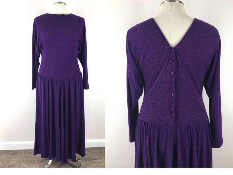990d824b50 Vintage 90s Purple Knit Fit Flare Maxi Dress with Long Sleeve   Etsy