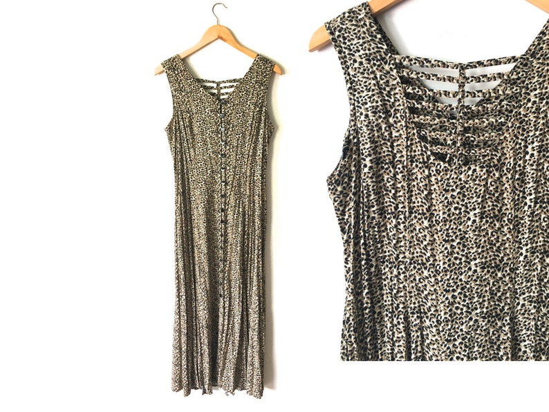 273bf5f5876 90s Animal Print Cage Back Midi Dress Fit Flare Buttons All