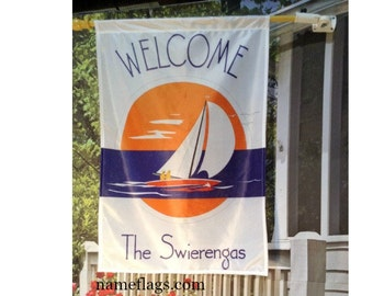Personalized Sailboat Flag, Garden or House Flag, Sailing Flag 2