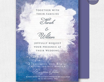 Blue and Purple Wedding Invitation, Lilac Wedding Invitation, Watercolor Wedding Invitation, PRINTABLE Paint Artistic Wedding Invitation Set