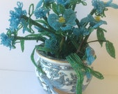 Lovely Vintage Beaded Floral Arrangement in Imari Peacock Vase