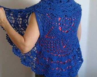 Crochet Pattern Blue Circle Vest / Shrug, PDF Digital Crochet Pattern, Easy crochet pattern