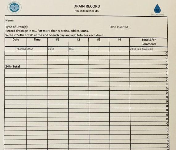 jp drain record form post mastectomy drain care record jp etsy