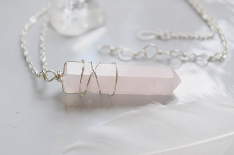 Rose Quartz Crystal Point Necklace Pendant in Sterling Silver