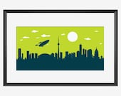 Toronto Skyline Print, The Enterprise, Star Trek Inspired print, Toronto Canada, Toronto poster, Toronto art, Star Trek print, Star Trek art