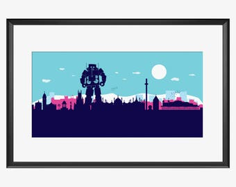 Brighton Skyline print, Brighton print, Brighton poster, Brighton art, Beastie Boys inspired print, Beastie Boys art, Beastie Boys poster