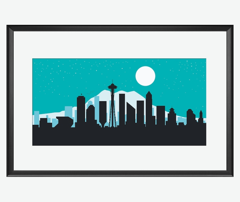 Seattle Skyline Seattle WA Seattle art Seattle print image 0
