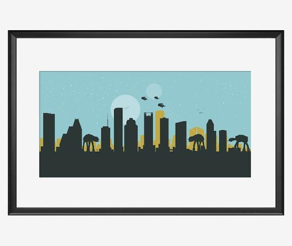 Houston poster Gift for him best man gift Houston print Houston art man gift Houston Texas Houston Skyline print Boyfriend gift