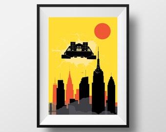 New York Skyline print, Back to the future movie inspired print New York art, New York print, New York poster, Back to the future print, art