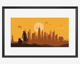 NEW YORK SKYLINE, Star Wars Inspired, Star wars art, Star Wars print, Star Wars poster, The Force Awakens inspired, The Force Awakens print