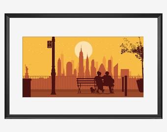 New York Skyline, New York art, New York print, New York poster, Woody Allen, Manhattan, Manhattan movie, Inspired art, print poster, gift