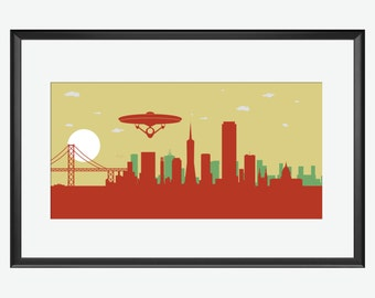 San Francisco Skyline, Enterprise Print, Star trek inspired art print, San Francisco art, San Francisco CA, Star Trek art, Star Trek nursery