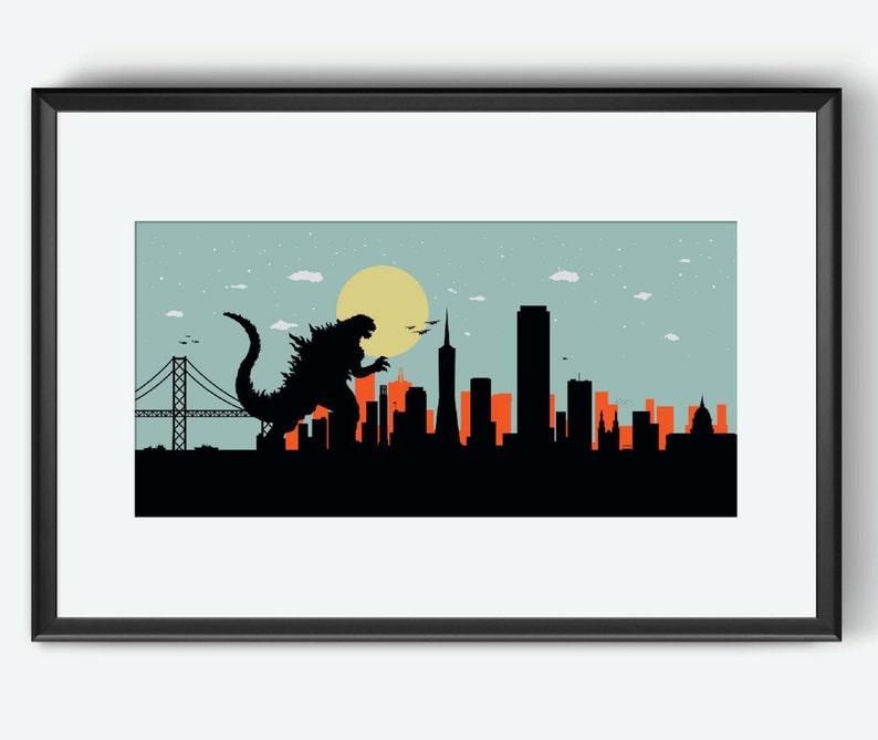 San Francisco Skyline print Godzilla inspired art Godzilla image 0