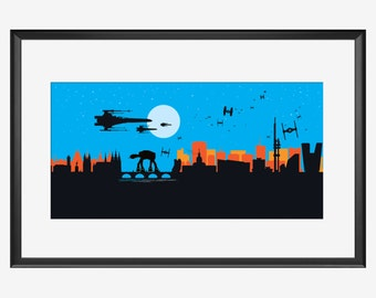 Prague Skyline Print, Star Wars inspired art, Prague art, Prague print, Prague poster, X-wings print, Star Wars print, Star Wars art nursery