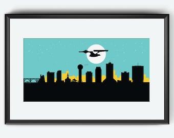 Knoxville Skyline Print, Star Trek inspired print, Knoxville poster, Star trek print, Star Trek poster, Knoxville art, Enterprise print art