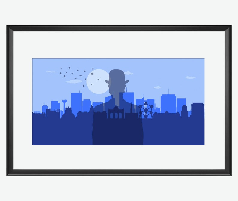 The Mysteries of the Brussels skyline Magritte inspired art. image 0
