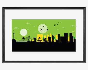 Horizon de Rotterdam print, impression de Rotterdam, art Rotterdam, affiche de Rotterdam, cadeau de Rotterdam, art inspiré de Star Wars, Star Wars art, cadeau imprimé