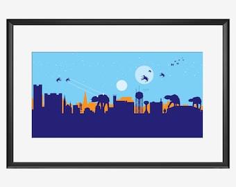 Skyline de Fargo impression, The Attack, Star Wars inspire art, impression Fargo, affiche de Fargo, art Fargo, impression de Star Wars, Star Wars art, oeuvre de Fargo