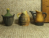 Wine Making French Country Farm Table Wooden Jug Pitcher Bottle Demijohn - French Feve Feves Porcelain Dollhouse Miniature MM16