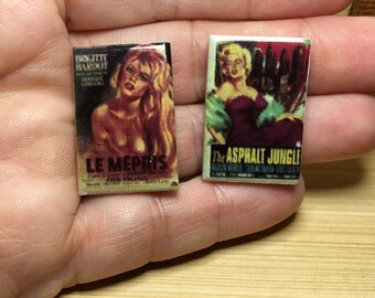 2 Tiny Movie Posters: Bardot's Contempt, The Asphalt Jungle Marilyn Monroe- French Feve Feves Doll House Miniatures  Y42