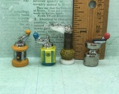 COFFEE GRINDER Mini Antique Spice Grinders Crank Kitchen Tools Supplies - French Feve Feves Porcelain Dollhouse Miniatures V282