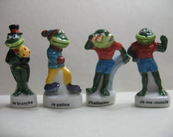 Sporty FROGS Frog Toad Miniature French Feve Feves Porcelain Figurines King Cake Baby Doll House Charm Mini  Figures