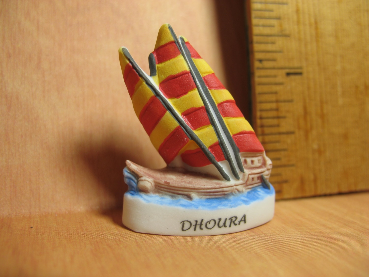 ANCIENT SHIPS Dhoura Medieval Arab Khinasi Sailing Vessel Boat - French  Feve Feves Porcelain Figurine Miniature A3