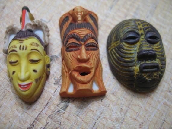 plutôt cool Style magnifique livraison gratuite Petite africaine masques Afrique ethnique Tribal Art primitif - Français  Feve fèves Figurine maison de poupée Miniature U64