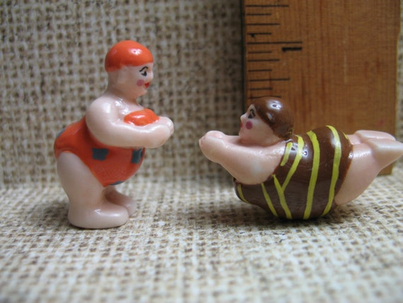 BATHING BEAUTY CUTIES  Women Swimmers Swimming Swimsuit Girls Ladies -  French Porcelain Feve Feves Mini King Cake Figurine Miniature G8