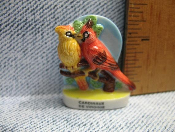 YELLOW//ORANGE DOLLHOUSE 1:12 Scale Miniature Pair of Lovebirds