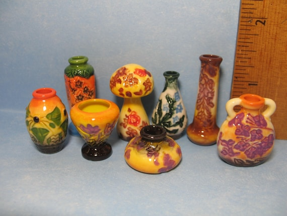 GALLE Nancy School Art Pottery Yellow Vase French Feve Dollhouse Miniatures Y30