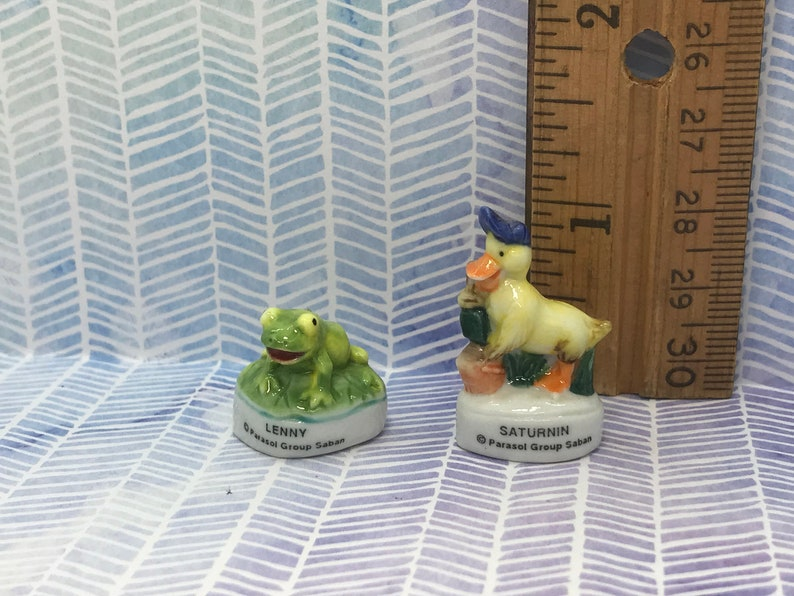 French Feve Feves Porcelain Doll House Miniatures Figures VV93 SATURNIN Sweet Dynamo Duck Lenny the Frog Duckling Cartoon