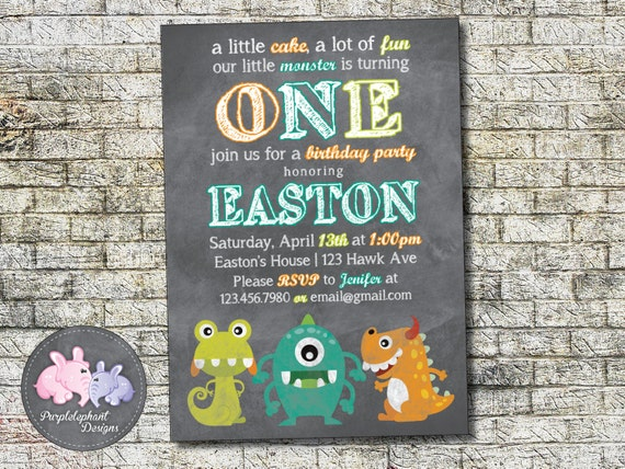 monster boy birthday invitation sweet little monster boy or etsy