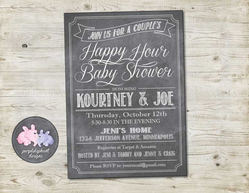 Beer And Diaper Party Invitation Baby Shower Couples Chalkboard Happy Hour 5x7 Custom Printable