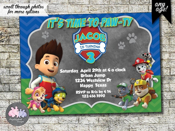 Paw Patrol Birthday Invitation Partol Party
