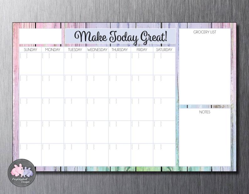 Perpetual Dry Erase Magnetic Personalized Family Calendar  Dry Erase Calendar for Fridge or Wall  Custom Calendar w Dry Erase Marker