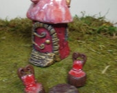 Fairy Garden Set Red and Pink Four Piece Set Miniature House Table and Chair Container Garden Terrarium Kit Table Centerpiece Decoration