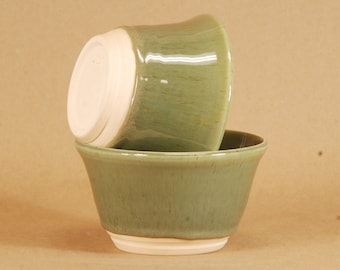 """Hand Thrown kitchen bowls.  Set of two.  Opaque Green Glaze.  12 oz.  3x5"""".  Food, dishwasher, micro safe. Hand thrown and fired in Chicago."""