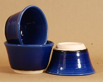 """Hand Thrown kitchen bowls.  Set of three.  Cobalt blue.  12 oz.  3x5"""".  Food, dishwasher and micro safe. Hand thrown and fired in Chicago."""