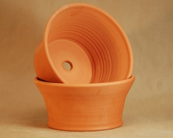 Hand Thrown Terracotta.  Set of two. 4# Seed Pan.  4 inches tall and 8.5 inches wide. Thrown and fired in Chicago