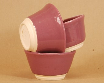 """Hand Thrown kitchen bowls.  Set of three.  Mauve.  12 oz.  3x5"""".  Food, dishwasher and micro safe. Hand thrown and fired in Chicago."""