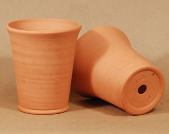 """Hand Thrown Terracotta Planter. Set of 2.  2# Long Tom.  6"""" tall and 5.5"""" wide at the lip.  Thrown and fired in Chicago"""
