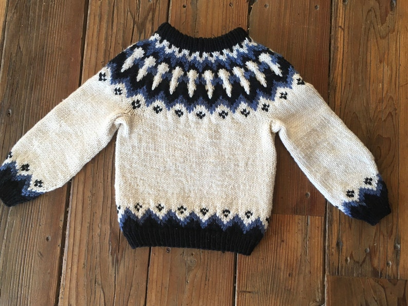 Icelandic toddler sweater hand knit with 100/% wool