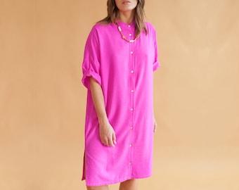 India pink Collarless Dress