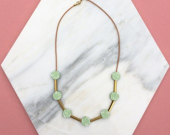Disc Necklace // Mint Green