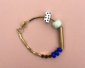 Marble and Brass Bracelet // Cobalt and Mint