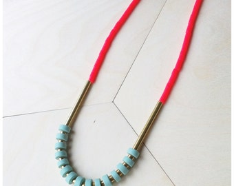 Heishi and Coral Necklace