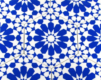 Blue and White Ceramic Tiles - Decorative Tiles - Backsplash Tiles - Kitchen Tiles - Bathroom Tiles- Ceramic Coasters - Hexagonal Tiles