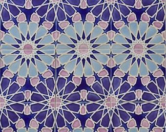 Hand Painted Moroccan Tiles - Kitchen Backsplash Tiles - Bathroom Tiles - Ceramic Accent Tiles - Decorative Tiles - Moroccan Coasters
